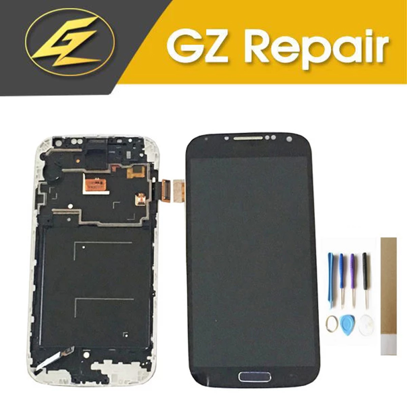 White Blue Color For Samsung Galaxy S4 I9500 LCD Display +Touch Screen Digitizer With Frame