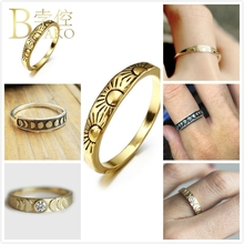 BOAKO Sun Rings For Women Engagement Ring Vintage Relief Moon Eclipses Astrology Gold Men anillo femme Jewelry Z5