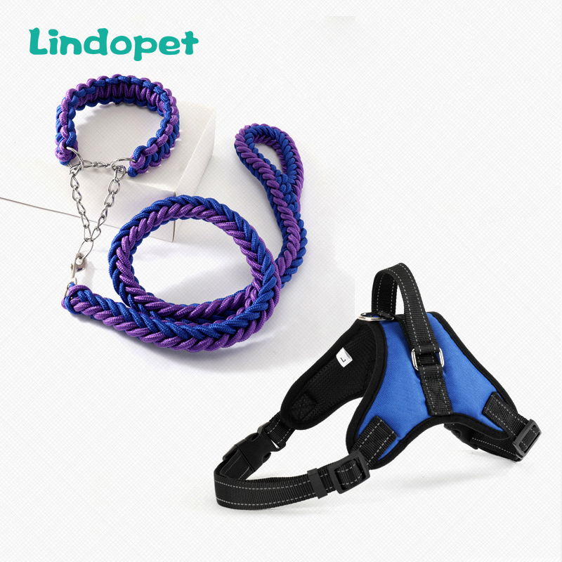 Large Pet Dog Collar Harness Leash Set Traction Rope Walk The Dog P Chain Pet Lead Harness Vest For Medium Large Dogs