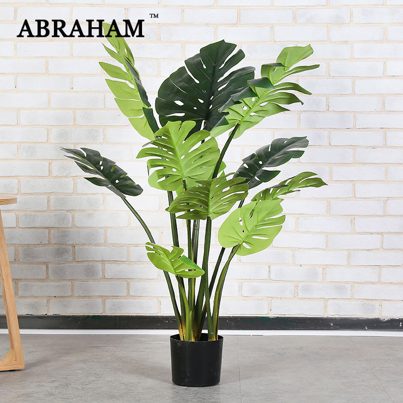 170cm Large Artificial Monstera Tree Tropical Fake Plants Green Indoor Tree With Pot Plastic Turtle Leafs For Office Home Decor Artificial Plants Aliexpress
