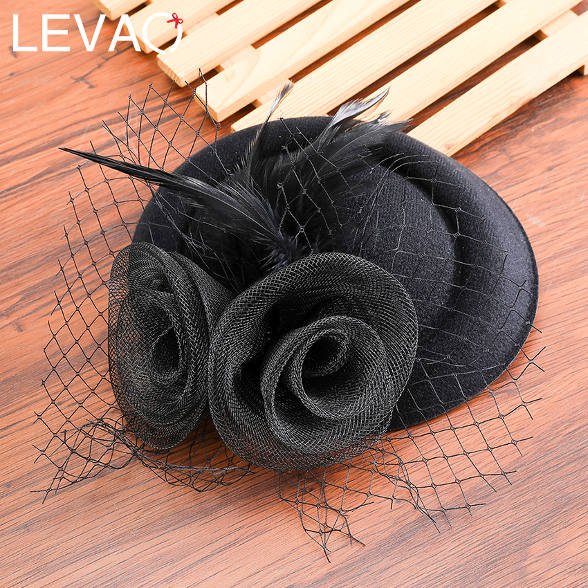 Levao Hair Bow Fascinators Hat Women Chic Party Retro Mesh Feather Flower Fascinators Clips Cocktail Bride Wedding Headdress
