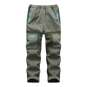 Image 3 - Brand Waterproof Boys Girls Pants Warm Trousers Sporty Climbing Trousers Children Patchwork Soft Shell Outfits For 105 160cm