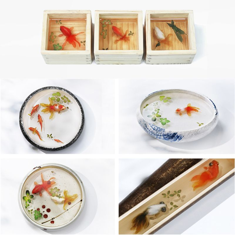 5Pcs 3D Leaves Clear Water Grass Film Sticker For Resin Goldfish Painting Jewely