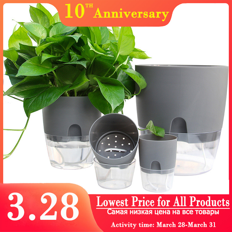 New 2PCS Nordic Automatic Self Watering Plants Pot Double Layer Hydroponics Irrigation For Home Decoration Gardening Flower Pots