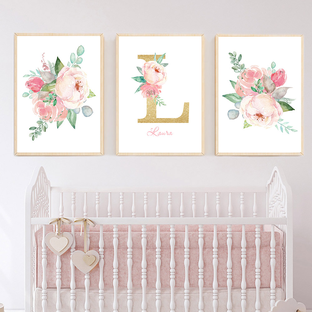 Peony Flower Babi Canva Print Nordic Poster Custom Name Canvas Painting Poster Nursery Print Wall Pictures Baby Girl Room Decor