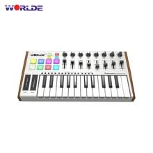 WORLDE TONNO MINI Ultra Portatile 25 Key USB MIDI Controller Della Tastiera 8 RGB Retroilluminato Trigger Pad con il Pedale martinetti tastiera MIDI