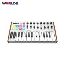 Worlde tuna mini ultra portátil 25 key usb midi teclado controlador 8 rgb retroiluminado gatilho almofadas com pedal jack teclado midi