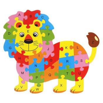 Juguetes de madera montables, diseños de animales, leones, alfabeto ABC, rompecabezas de...