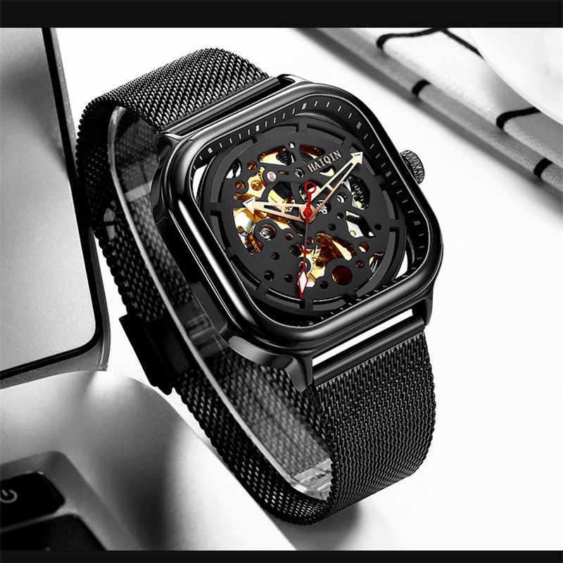 Haiqin relógios masculinos marca superior de luxo oco esqueleto mecânico relógio masculino militar esporte automático relógio de pulso montre homme + caixa