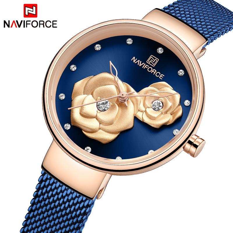 NAVIFORCE Ladies Watch Top Brand Rose Gold Blue Quartz Ladies Watch For Girls Relogio Feminino Dark Blue Color Matching Steel Me