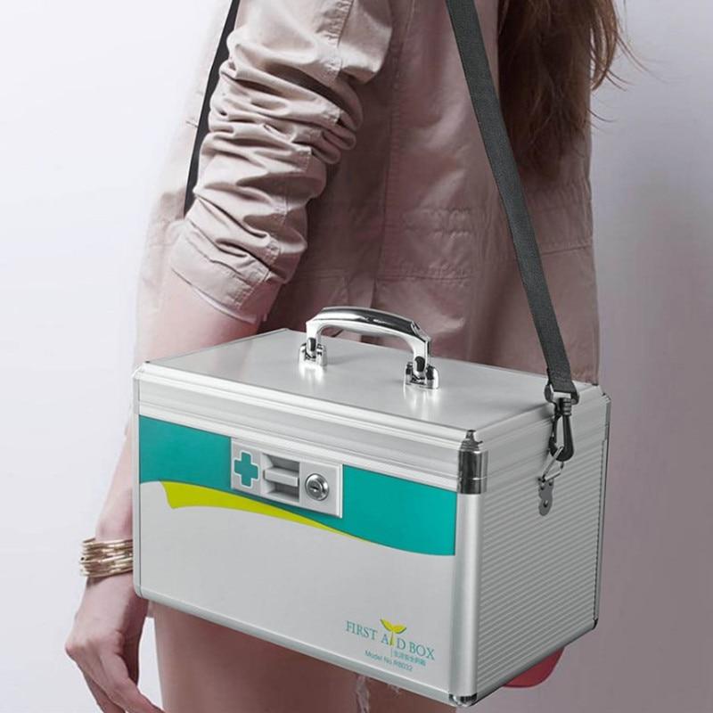 Safety Protection First Aid Box Aluminum Alloy Travel Suitcase Portable Home Visit Medical Kit Storage Toolbox Shoulder Handbag