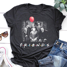 friends horror movies characters halloween shirts woman harajuku fashion print o-neck bad witch graphic tee plus size women недорого