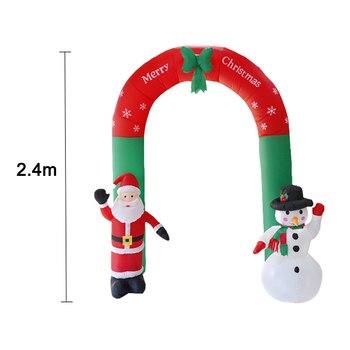 Hot Christmas Decoration 2.4m Inflatable Christmas Arch Santa Claus Snowman Christmas Door Toys Garden Party House Decoration  X