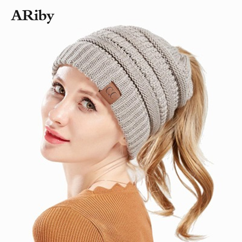 ARiby Winter Knit Hat Hot Sale Winter Knitted Fungus Dome Open Ponytail Hat Men And Women Fashion Knit Hats