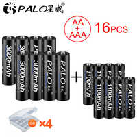 PALO 8 pièces 1.2V AA batterie rechargeable 3000mah NIMH 1.2V Rechargeables aa batteies + 8 pièces 1100mah AAA Batterie pour jouet de microphone