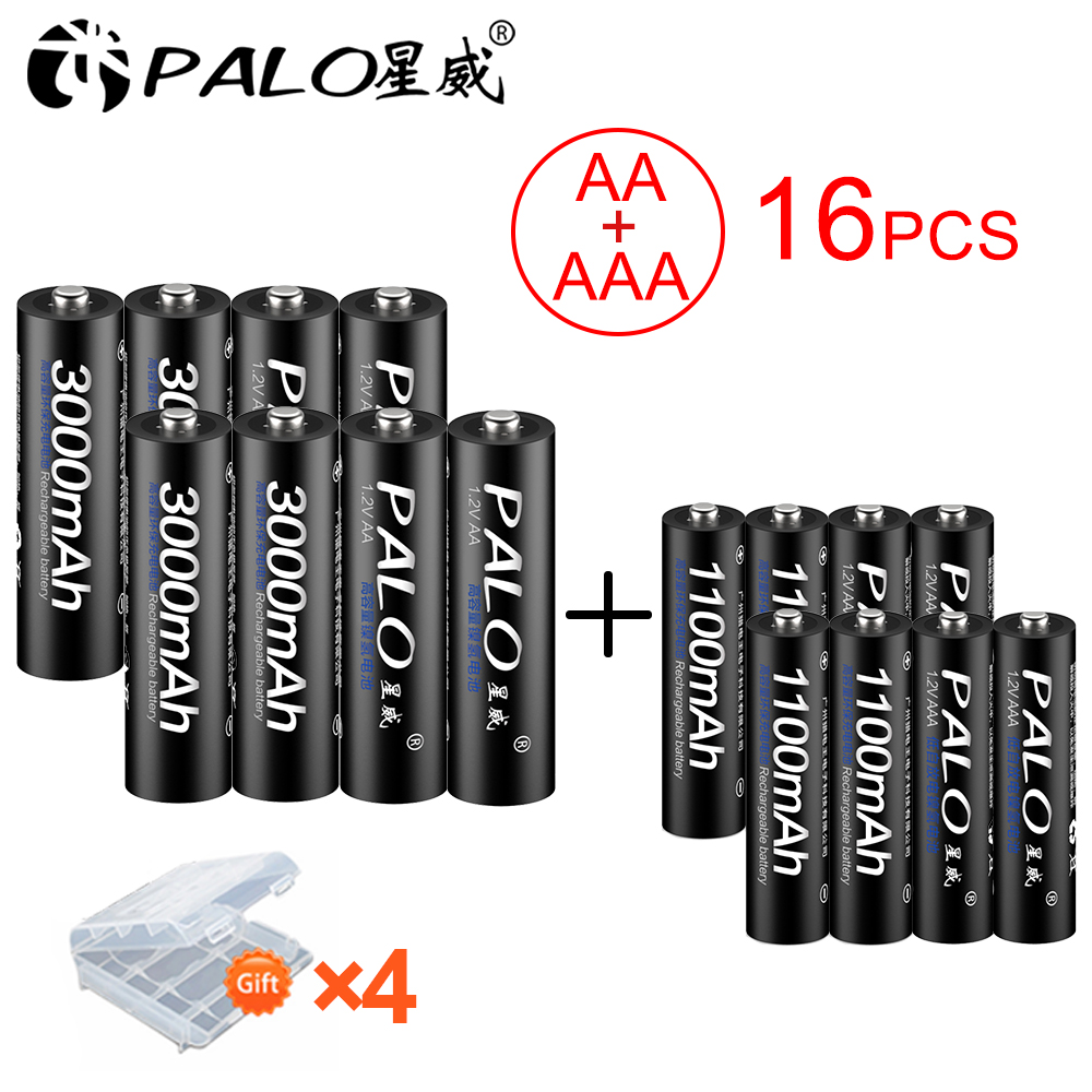 PALO 8Pcs 1.2V AA Rechargeable Battery 3000mah NIMH 1.2V Aa Rechargeable Batteies + 8Pcs 1100mah AAA Battery For Microphone Toy