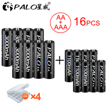 8pcs / lot 1.2V AA rechargeable battery 3000mah NIMH 1.2V Rechargeable batteies + 8pcs 1100mah AAA Battery With Storage Box hsp 7 2в 1100mah nimh