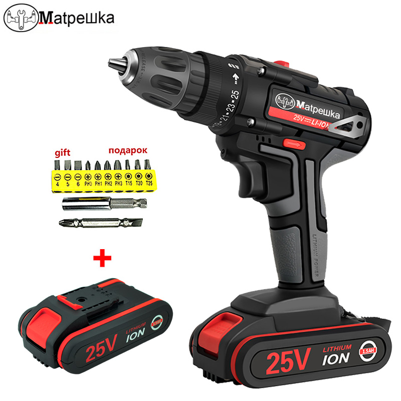 <font><b>25V</b></font> Electric Screwdriver Household Cordless Electric Drill Hand-held Rechargeable Lithium-ion Battery Electric Screwdriver+Gift image