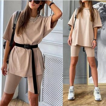 2020 Casual Solid Outfits Women's Two Piece Suit With Belt Home Loose Sports Tracksuits Fashion Leisure Bicycle Suit Summer