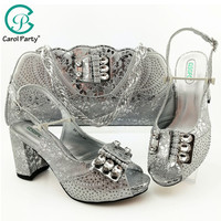 Mature Style New Arrival Nigerian design Party Shoes Matching Bag Set New Italian Design Ladies Shoe and Bag to Match in Silver