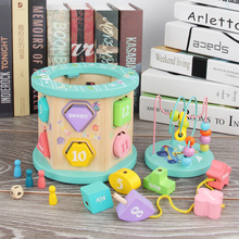 Montessori Wooden Activity Cube Bead Maze Toy Baby Kids Counting Beads Sliding Shapes Block Math Toys Puzzles For Boys Girls