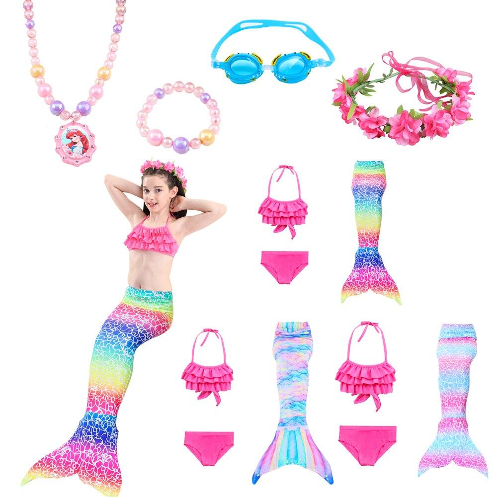 Traje de baño de sirena para niños Cosplay cola de sirena pequeña vestido de traje de cola de sirena bañador