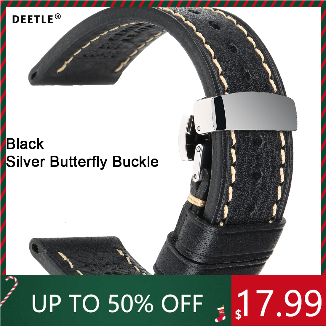 DEETLE Genuine Calfskin Leather Watchband 20mm 21mm 22mm 24mm Straps with Solid Automatic Butterfly Buckle Business Watch Band