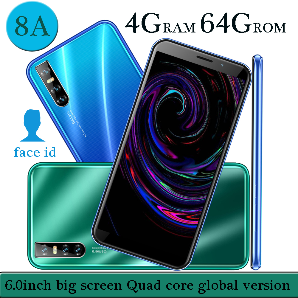 Смартфон глобальная версия 8A, 4 Гб ОЗУ, 64 Гб ПЗУ, HD экран 6,0 дюйма 18:9, камера 13 МП, функция распознавания лица, мобильные телефоны android, четырехъ...