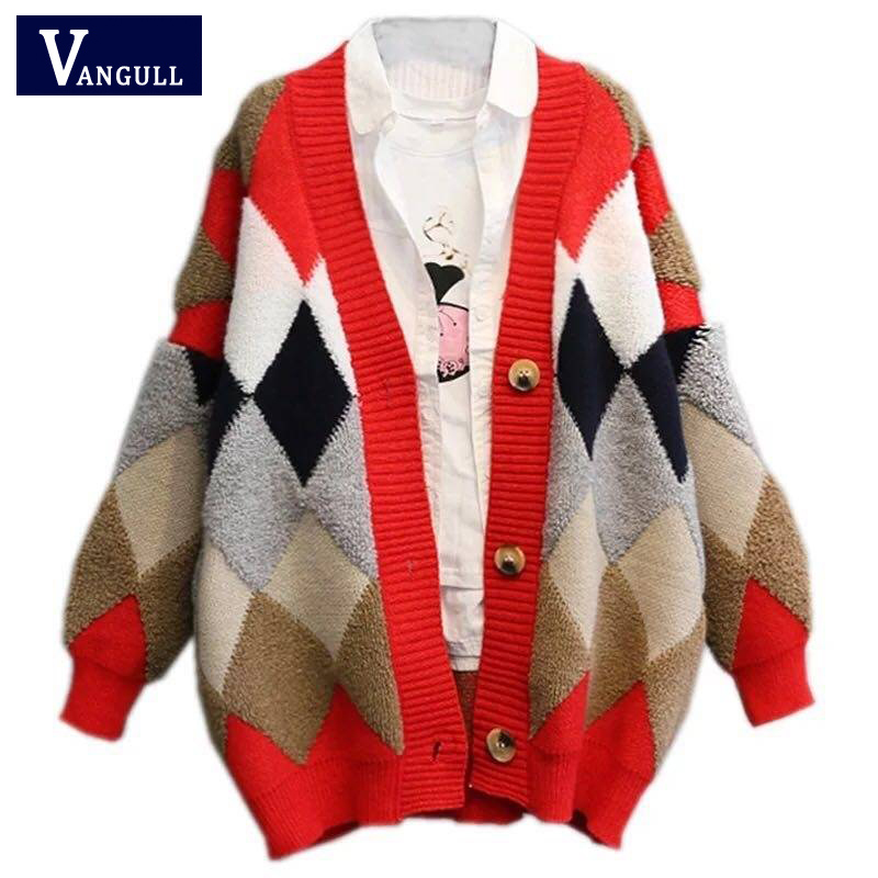 Vangull Plaid Cardigans Sweater Patchwork Thick Open Long Knitted Women Sweaters Autumn Winter Casual V-Neck Puff Sleeve Sweater