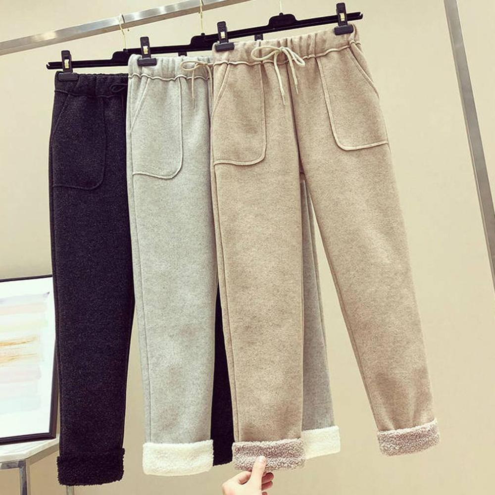 Fashion Women Pant Winter Thick Cashmere Pants Solid Winter Keep Warm Pocket Casual Women Trousers Plus Size Harem Pants 2019