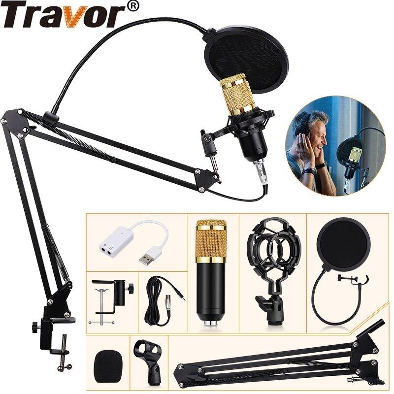 Travor BM800 конденсаторный аудио 3,5 мм проводной микрофон профессиональный студийный микрофон для радио braodcast пение микрофон держатель