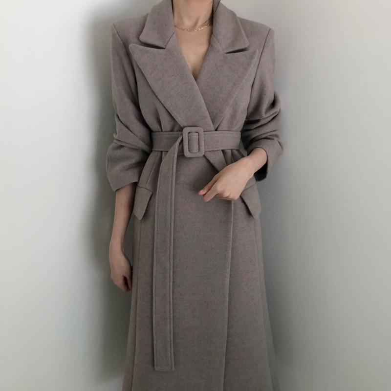 Fashion Solid Women Long  Woolen Coat Office Lady Slim Women's Woolen Jacket Belt Coat And Jacket