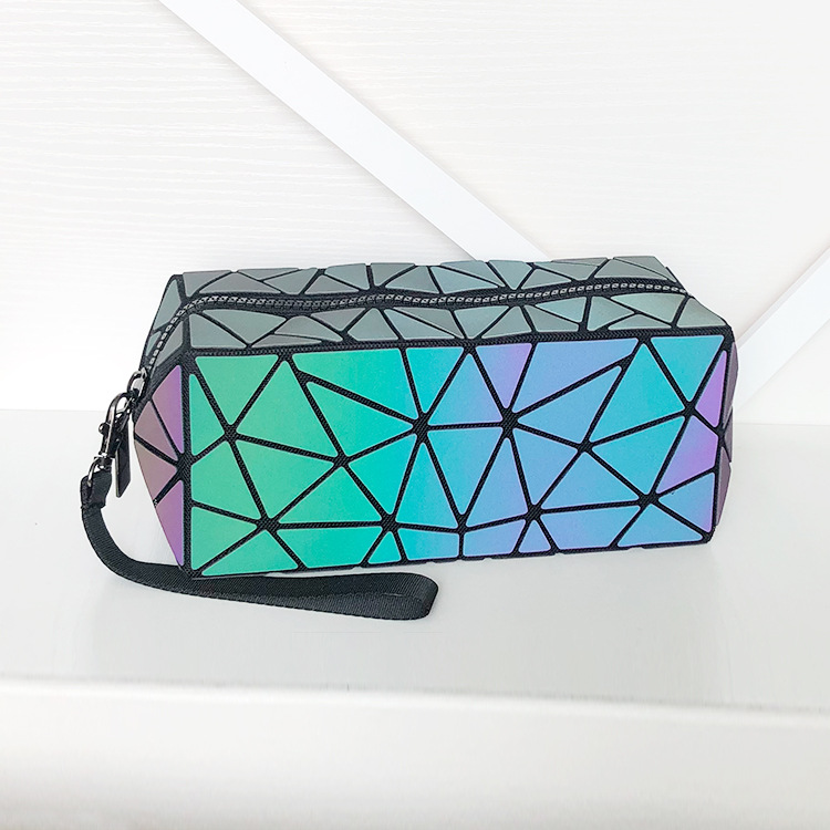 Geometric Cosmetic Bag For Women Luminous Makeup Bag Ladies Zipper Cosmetics Organizer Folding Travel Make Up Bag