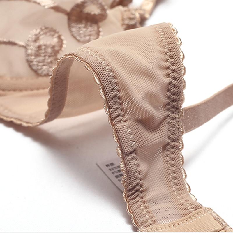 Image 4 - カップ透明ブラセットランジェリー女性刺繍メッシュブラジャーブラフリルストラップ裏地なし下着セクシーな彼女のためのギフトブラジャー & ブリーフセット   -