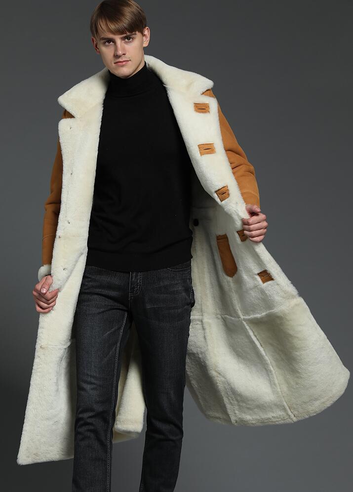 2019 New Arrival Fur One Genuine Leather Jacket Men X-Long Leather Coat 130CM Men's Sheepskin Winter Thicken Warm Jackets