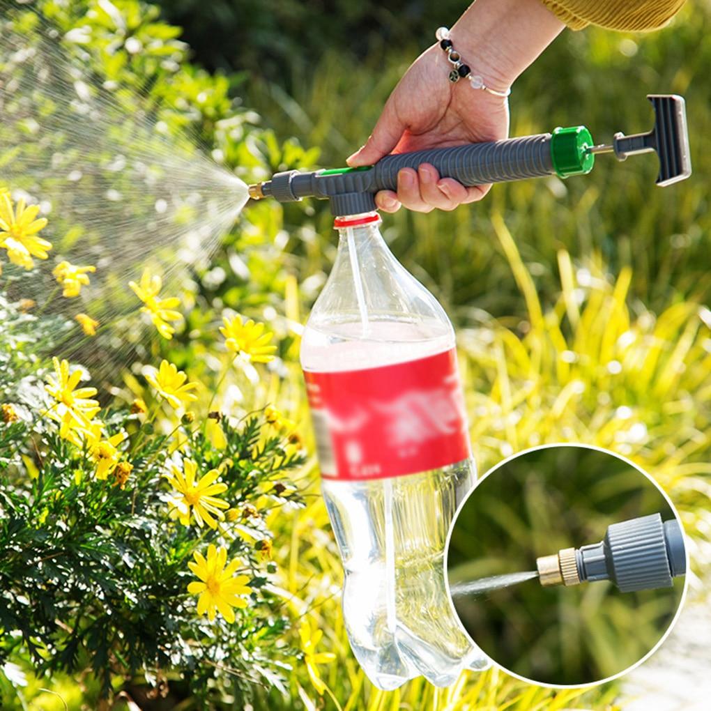 High Pressure Air Pump Manual Sprayer Adjustable Drink Bottle Spray Head Nozzle Garden Watering Tool 2