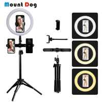 MountDog 10 zoll 26cm Dimmbare LED Selfie Ring Licht Kamera Telefon Fotografie Video Make-Up Lampe Mit Stativ Telefon Clip