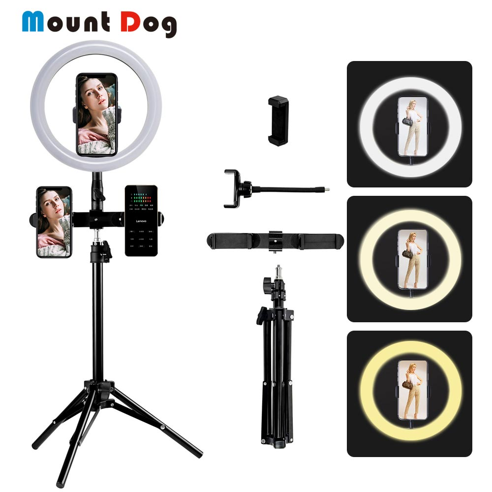 MountDog 10 Inch 26cm Dimmable LED Selfie Ring Light Camera Phone Photography Video Makeup Lamp With Tripod Phone Clip