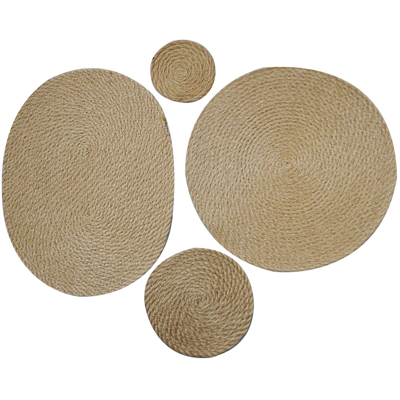 4pcs Flax Straw Woven Dining Table Mat Heat Insulation Placemats