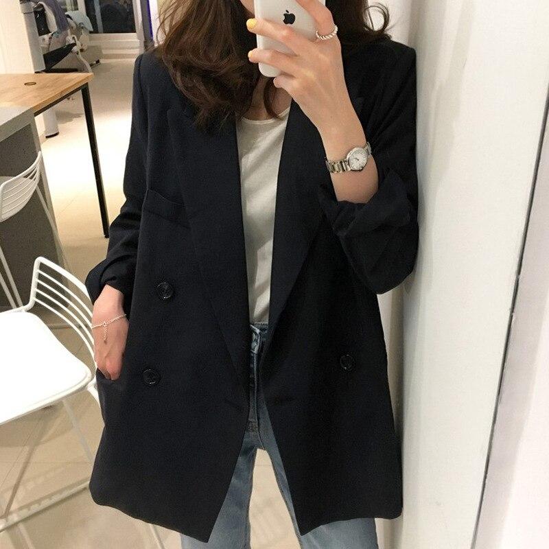 Женское пальто, осень 2019, новый темперамент, повседневный стиль, свободный, сплошной цвет, двубортный, маленький костюм, женская рубашка
