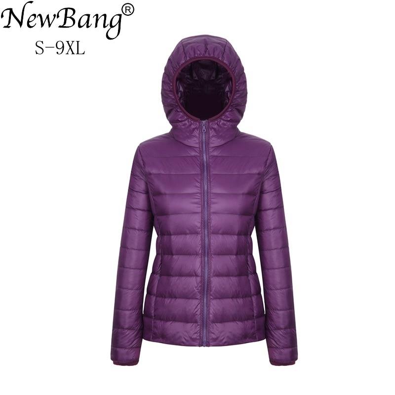 NewBang 8XL 9XL Plus Size Ultra Light Down Jacket Women Autumn Winter Warm Coat White Duck Jackets Female Hooded Parka