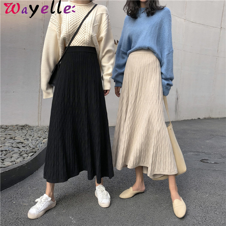 Вязаные длинные юбки для женщин 2019 осень зима новые трапециевидные Юбки миди женские корейский стиль винтажные элегантные юбки с высокой талией для женщин on AliExpress