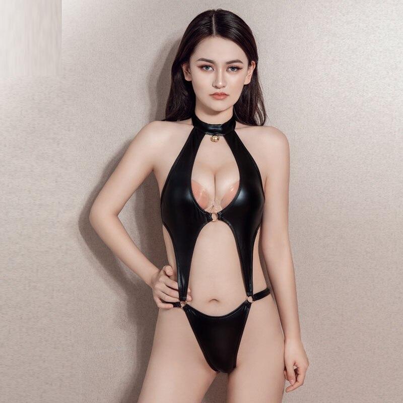 Halter Hollow Out PU Leather Bodysuit High Cut Japanese Cosplay Swimsuit Sukumizu Hot Sexy Pole Dance Clubwear Body Suit Onesie