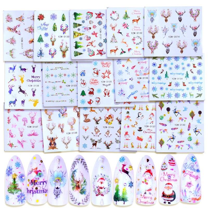 Folha 1 elk Floco de neve de Natal Da Arte Do Prego Decalques de Água Transferência Adesivos Ano Novo Decorações Do Feriado Presente Do Boneco de neve