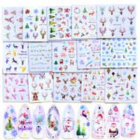 1 hoja de decoración de uñas de Navidad calcomanías de agua elk copo de nieve pegatinas de transferencia Año Nuevo decoraciones de vacaciones regalo