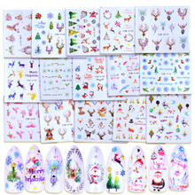 цена на 1 Sheet Christmas Nail Art Water Decals elk Snowflake Snowman Transfer Stickers New Year Holiday Decorations Gift