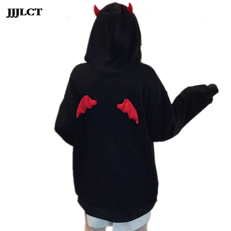 Women's Devil Flying Wings Loose Pullover Pocket Top Street Wearing Harajuku Girl Little Devil Horn Goth Hoodie Sweatshirt