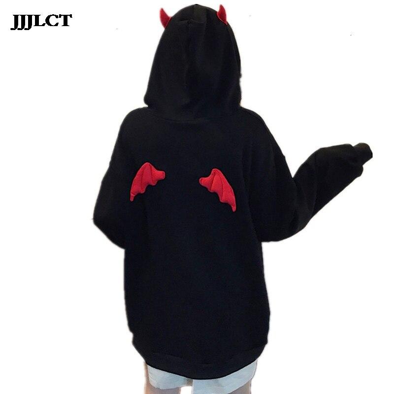 Women's Devil Flying Wings Loose Pullover Pocket Top Street Wearing Harajuku Girl Little Devil Horn Goth Hoodie Sweatshirt