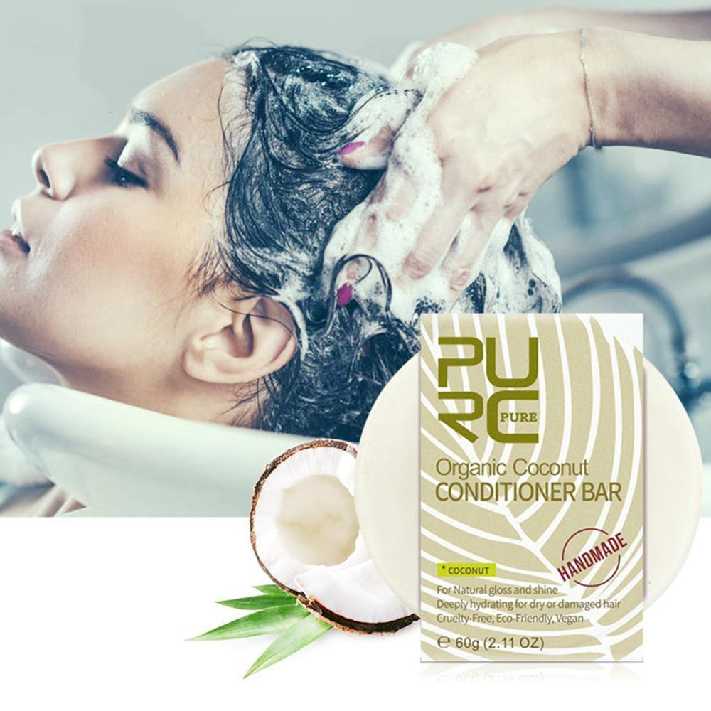Purc Organic Hair Coconut Conditioner Bar Handmade Solid Hair Conditioner Soap Deeply Hydrating For Dry/damaged Hair Care