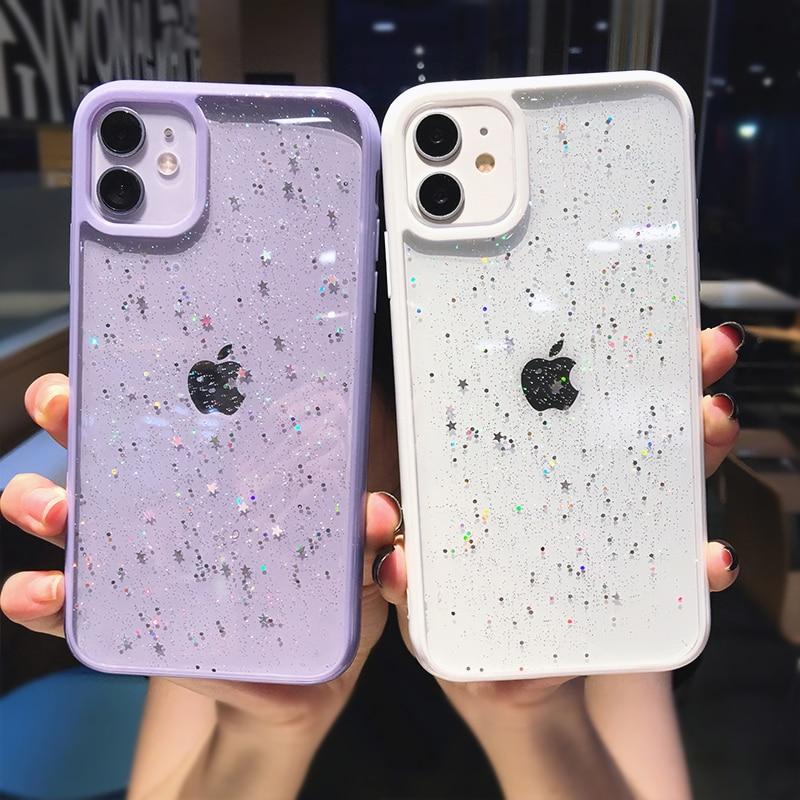 Блестящий Мягкий Блестящий Прозрачный чехол для iPhone 11 Pro Max XS XR X 7 8 Plus, ударопрочный прозрачный чехол накладка|Специальные чехлы|   | АлиЭкспресс - Топ аксессуаров для смартфонов